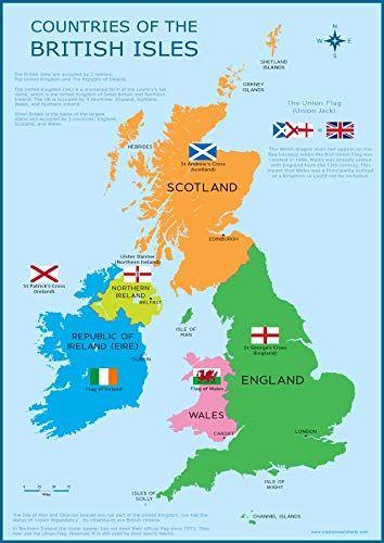 Regno Unito Cartina Da Colorare.Cartina Da Parete Per Bambini Con Mappa Della Gran Bretagna Regno Unito E Isole Britanniche Formato A3 30 Cm X 42 Cm Poste Isole Britanniche Poster Mappa