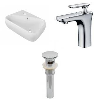 Teorema Ceramic 17 Wall Mount Bathroom Sink With Overflow Wall Mounted Bathroom Sinks Faucet Rectangular Sink Bathroom