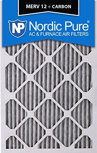 3 Piece Nordic Pure 16x25x2 MERV 8 Pleated Plus Carbon AC Furnace Air Filters 16 x 25 x 2