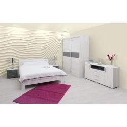 Reduced room facilities- Reduzierte Zimmereinrichtungen Complete bedroom set J Lepe, 6 pieces, partly solid, color: oak white / anthracite / white Easy -