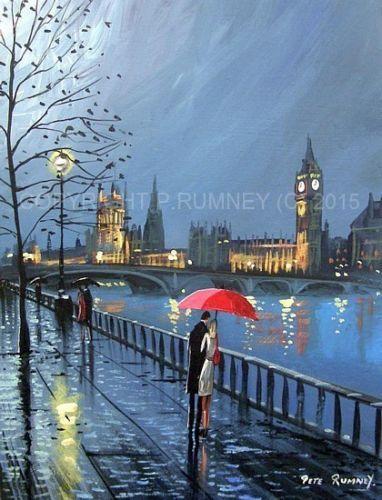 PETE-RUMNEY-FINE-ART-ORIGINAL-OIL-ACRYLIC-PAINTING-LONDON-EVENING-WALK