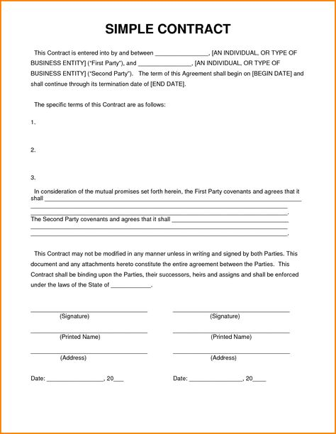Simple Contract Agreement Contractor Contract Contract Template