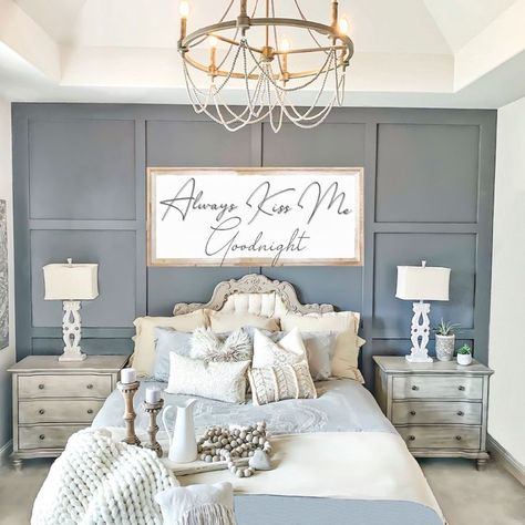 board and batten wall Modern Board and Batten Accent Wall - Wainscoting - Modern Farmhouse Master Bedroom - French Shabby Chic - Gray - Grey - Neutral - via Farmhouse Master Bedroom, Master Bedroom Makeover, Master Bedroom Design, Home Bedroom, Romantic Master Bedroom Ideas, Shabby Chic Master Bedroom, Rustic Romantic Bedroom, Master Bedrooms, Farmhouse Bedroom Furniture