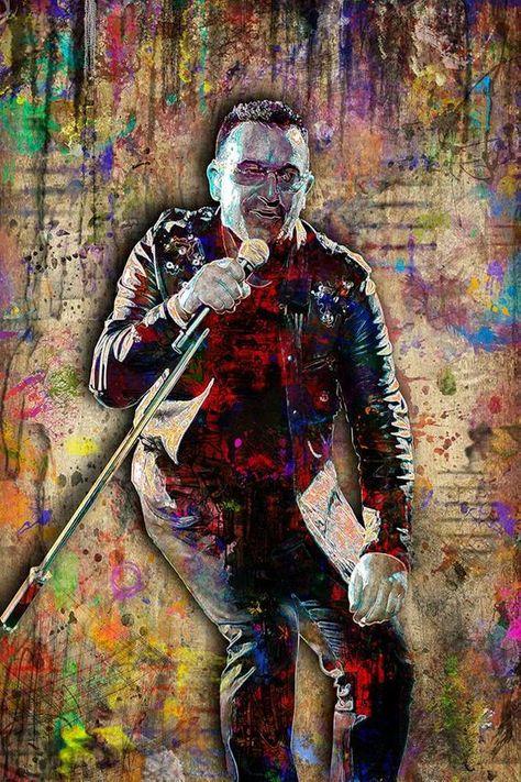 Bono Print, Bono Artwork, Bono Tribute Art, Bono Poster for U2 Fans