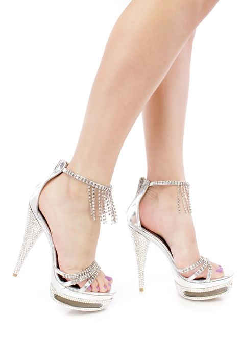 0cfbd2d5621 Silver Rhinestone Strappy 6 Inch High Heels Faux Leather in 2019 ...