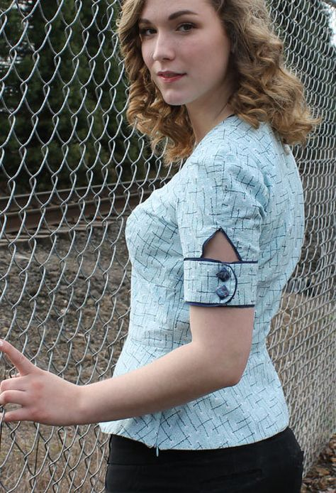 Womens Sewing Peplum Blouse pattern Ties or by SewChicPatternCo, $16.95