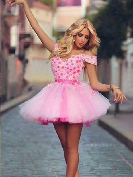 Beautiful Homecoming Dresses Hand Made Flower Pink Short Prom