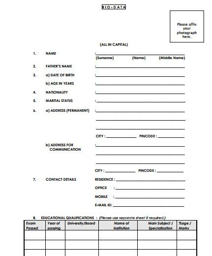 Biodata Form For Job Application Biodata Format Download Biodata Format Resume Format Download