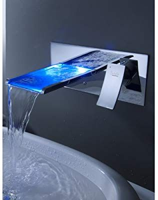 Sprinkle Wall Mount Color Changing Led Waterfall Bathroom Sink Faucet Single Handle Widespread Wa Waterfall Sink Faucet Bathroom Faucets Bath Shower Mixer Taps