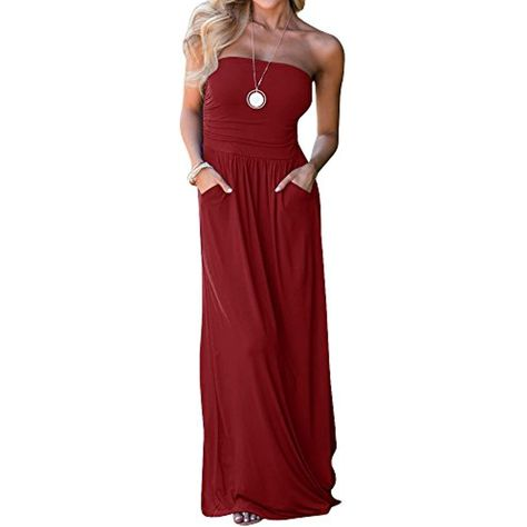 2950e3a484 Solid Colors Sundress Cover up Tube Top Sleeveless Casual Dress Long Maxi  Dress with Pockets   Find out more about the great product at the image  link.