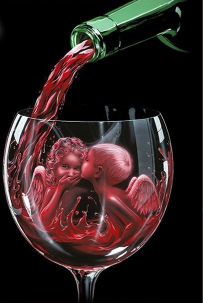"""Angel Kiss"" by Michael Godard is available at Fascination St. Fine Art in AP, GP, SN, and G Editions!  #Angel #kiss #wine #art #angels #children #commemorative #newrelease #godard #michaelgodard"