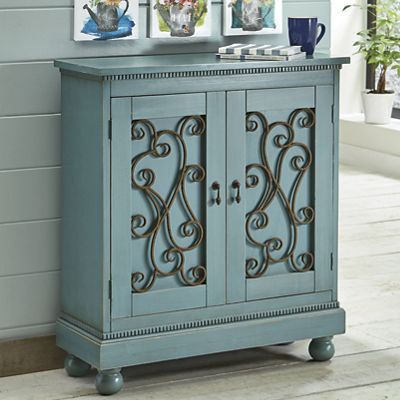 Cabinets Curios A French Blue Cabinet With Romantic Scrolled Metal Inset Door Panels And Decorative Trim Come Home To Comf Furniture Cabinet Blue Cabinets