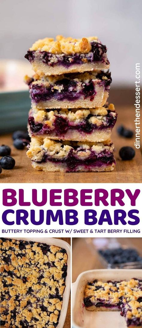 Blueberry Crumb Bars are a tasty summer treat on the go, ready in under an hour! #dessert #dessertbars #blueberries #blueberrydessert #crumbbars #fruitdessert #dinnerthendessert