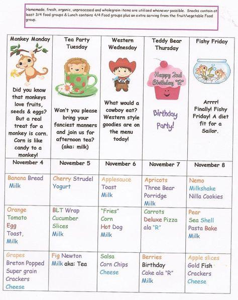 daycare lunch menu