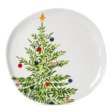 Melamine Christmas Platters.Decorated Tree 11in Melamine Dinner Plate Green And White