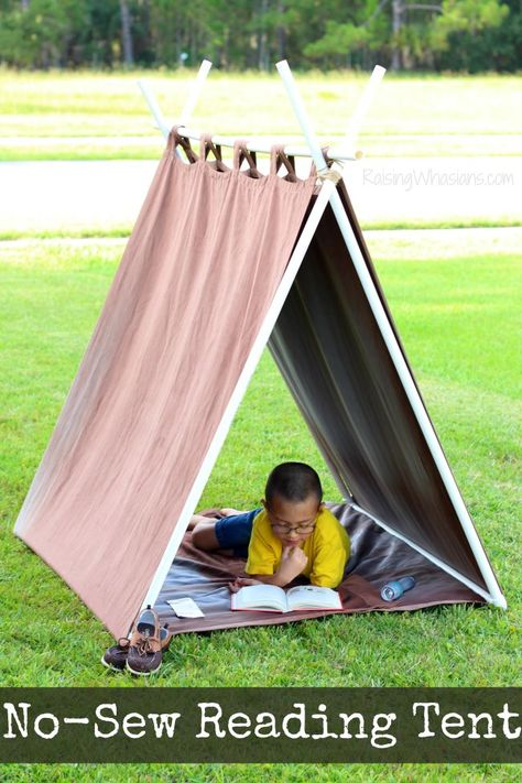 No Sew Reading Tent for Kids Easy build your own teepee style tent to encourage your childs love of reading Perfect summer project idea for under 20 via raisingwhasians Diy Teepee, No Sew Teepee, Pvc Tent, Pvc Pipe Tent, A Frame Tent, Diy Recycling, Pvc Pipe Projects, Kids Tents, Play Tents