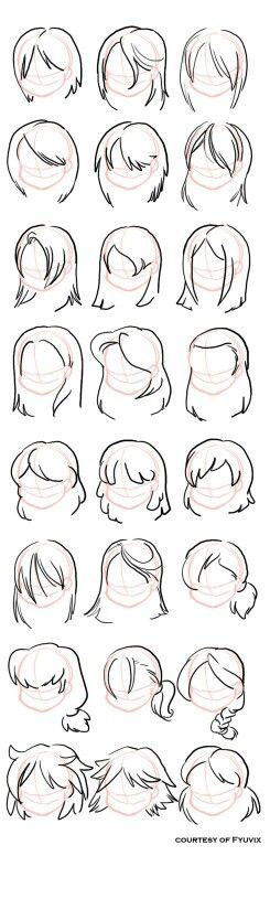 Hairstyles- straight by =fyuvix: design reference, drawing reference, hair reference, Drawing Lessons, Drawing Techniques, Drawing Tips, Drawing Ideas, Drawing Art, Hair Styles Drawing, Sketch Drawing, Drawing Projects, Anatomy Drawing