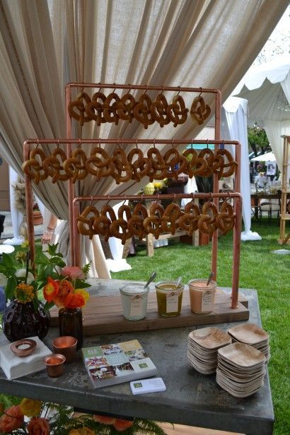 Wedding Reception Food pretzel bar with pretzels hanging on hooks is a creative idea - Pretzel stations or bars are among the hottest wedding catering trends now, and if you like them, it's high time to rock such a bar! Wedding Buffet Food, Wedding Catering, Food Buffet, Party Buffet, Wedding Receptions, Brewery Wedding Reception, Wedding Snack Bar, Wedding Food Stations, Buffet Set