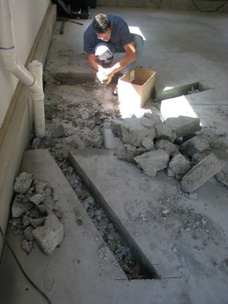 Install Plumbing Into Concrete Slab For Toilet Sink And Shower My Garage Build Concrete Installation Plumbing Installation Toilet Installation
