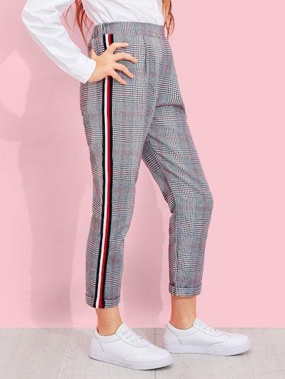 Pantalones de niñas de cuadros de lado de rayas