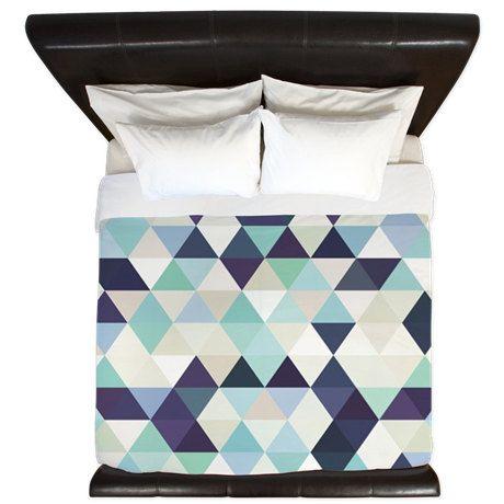 Bleu Vert Violet Triangle Geometrique Housse De Couette Housse De Couette 3 Tailles Disponibles Roi Reine Twin Bedding Lit Rose