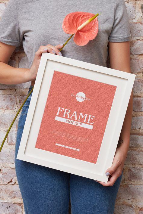 Girl Showing Frame PSD Mockup Download   DesignHooks