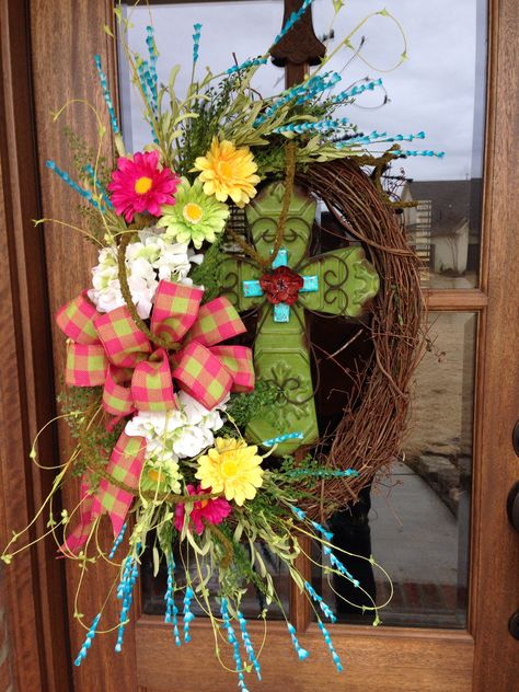 Spring Grapevine and cross wreath from Southern and Sassy Door Decor and More on Facebook!!