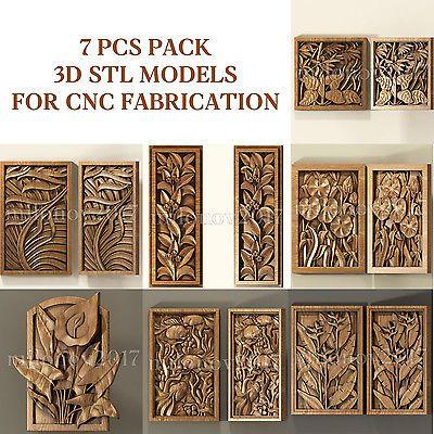 3d stl Model relief for CNC Router Artcam 15 pcs Pack panel