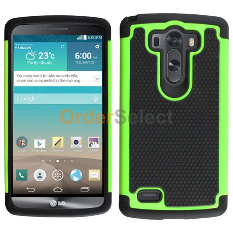 Hybrid Rugged Rubber Hard Case Skin for Android Phone LG G3 Green 50