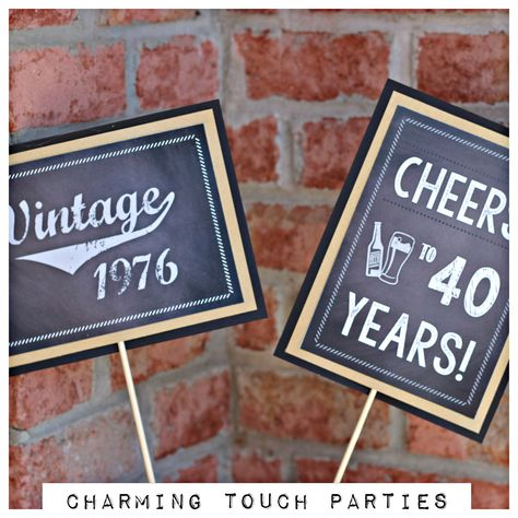 Chalkboard 40th Birthday centerpiece. Set of 2, Chalkboard and Antique gold.  Masculine and Vintage Party Decorations. Customizable. by CharmingTouchParties on Etsy