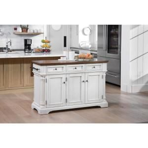 Osp Home Furnishings Cocina Kitchen Island Antique White With Wood Top And Frame Bp 4212 0405 The Home Depot Kitchen Island With Seating Black Kitchen Island Home Depot Kitchen