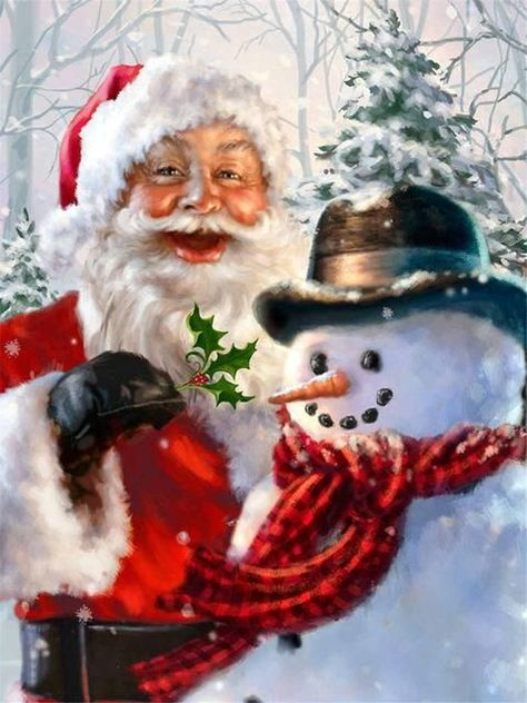 christmas images Collection of Snowman Xmas Diamond Paintings Christmas Scenes, Father Christmas, Santa Christmas, Christmas Pictures, Winter Christmas, Christmas Time, Christmas Decor, Illustration Noel, Santa Pictures