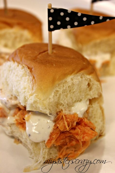 Rehearsal or reception 4th of July? Crockpot Buffalo Chicken Sliders: 6-8 Chicken breasts, Frank's Red Hot/buffalo Sauce, Package Ranch Dressing, Put in low crockpot for 5-6 hours. Shred, remove extra juices and add additional Frank's sauce to taste. Serve on King Hawaiian Rolls and ranch/bleu cheese dressing.