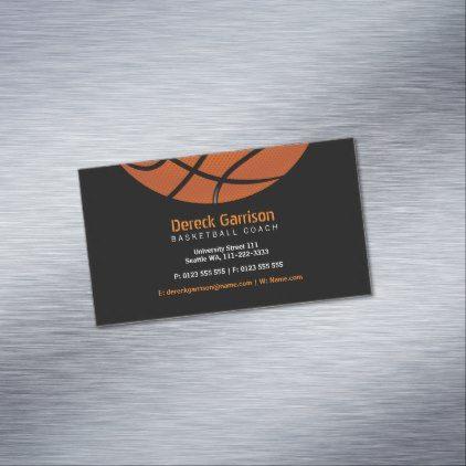 Basketball Coach Sport Business Card Magnet Zazzle Com Basketball Coach Sports Business Basketball Business Card
