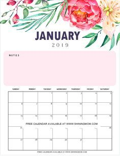 image relating to Pretty Printable Calendar identified as No cost Printable Calendar 2019 with Notes inside of Beautiful Florals