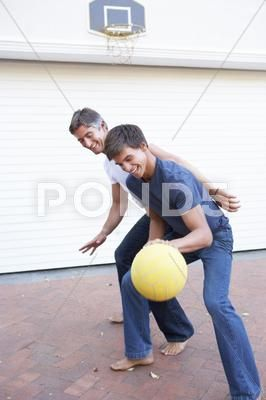 Father And Teenage Son Family Playing Basketball Outside Garage Stock Photos Ad Son Family Father Teenage Teenager The Outsiders Stock Photos