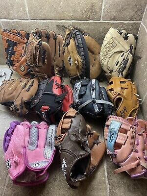 Advertisement Ebay Lot Of 11 Most New Youth Baseball Gloves Easton Mizuno Rawlings Great Deal