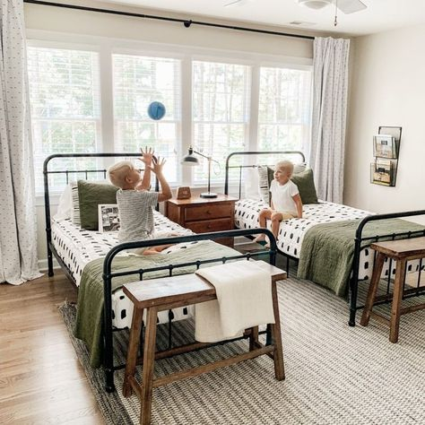 Shared Boys Room Reveal Shared boys room reveal that is functional, affordable, and stylish. Twin beds, a DIY wall basektball hoop and classic colors make this room a standout. - Shared Boys Room Reveal on a Budget with Classic Design Shared Boys Rooms, Rooms For Boys, Boy And Girl Shared Bedroom, Little Boys Rooms, Boy Girl Room, Child Room, Big Boy Bedrooms, Little Boy Bedroom Ideas, Boy Rooms
