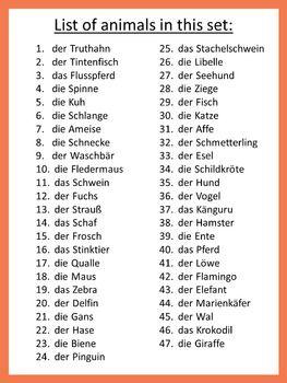 German Animals Ich Habe Wer Hat Game Learn German German Phrases German Language Learning