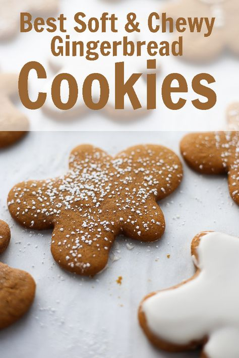 holiday cookies Gingerbread Cookies Brownie Cookies Best Soft and Chewy Gingerbread Cookies - 3 Scoops of Sugar Köstliche Desserts, Holiday Desserts, Holiday Baking, Holiday Recipes, Dessert Recipes, Easy Christmas Baking Recipes, Healthy Christmas Treats, Plated Desserts, Cake Recipes