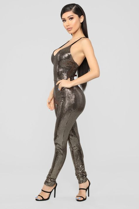 Caylee Sequin Jumpsuit - Gold