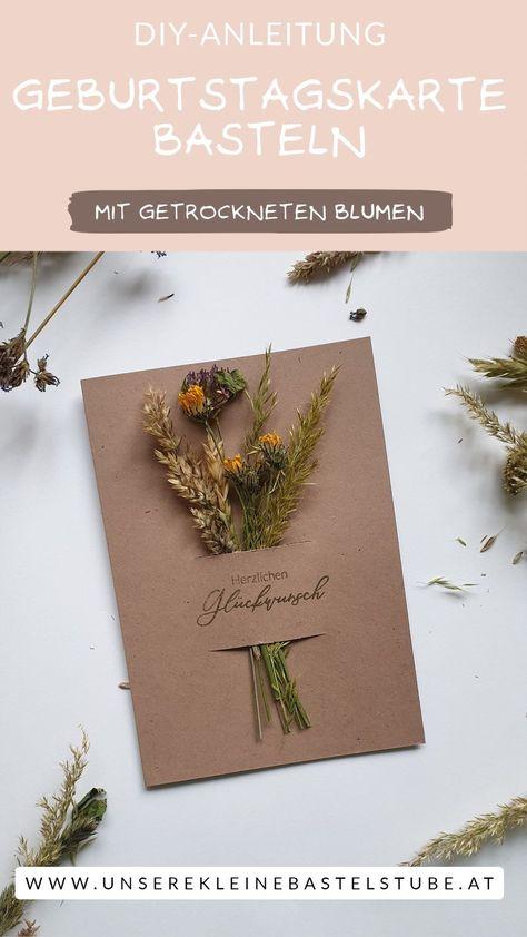 Bastel diese einzigartige Karte zum Geburstag mit getrockneten Wiesenblumen einfach nach. Sie geht schnell und einfach. Du benötigst wenig Material. Anleitung zum Trocknen der Blumen und Video Anleitung für die Karte findest du hier.