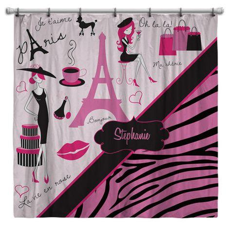 Fabric Paris Shower Curtain Paris Bathroom Decor Paris Elegant