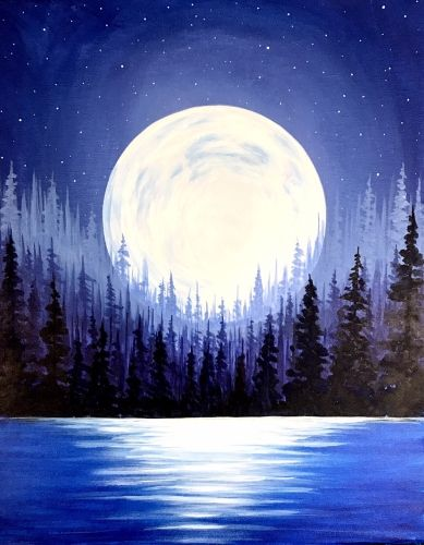 Moon Over The Forest Moon Painting Night Painting