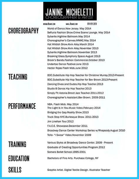 Dance Resume Template.Cool The Best And Impressive Dance Resume Examples