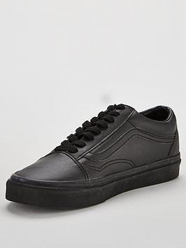 vans black black leather old skool