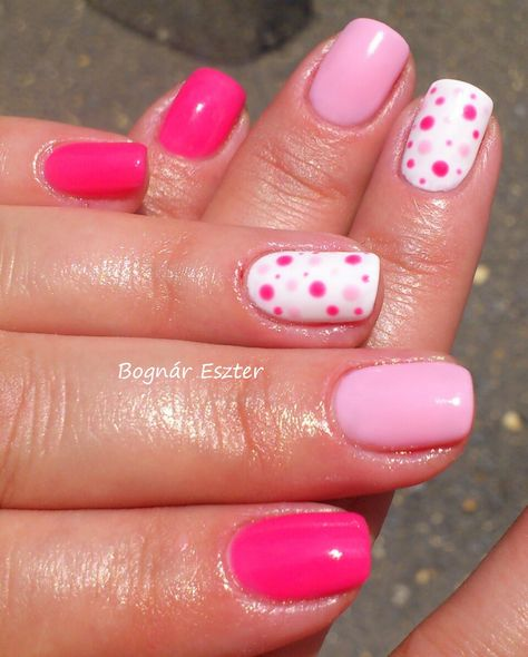 OPI-Strawberry Margarita & Orly-Lift the Veil & Orly White Tips- with dots # pink nails