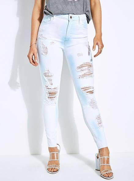 GUESS Womens Super High Rise Jean with Destroy Jeans