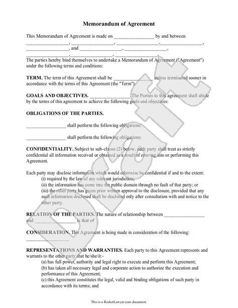 Sample Memorandum Of Agreement Form Template Roommate Agreement