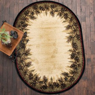 Village Pines Rug 5 X 8 Oval Black Forest Decor Rugs Rustic Area Rugs